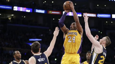 The Los Angeles Lakers' Kobe Bryant shoots during his last NBA basketball game, against the Utah Jazz, in 2016. He ended his 20-year career when he was 37 years old.