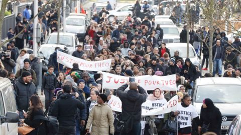 People protest this month in Aulnay-sous-Bois, northern Paris,  following the alleged police assault of a 22-year-old male.