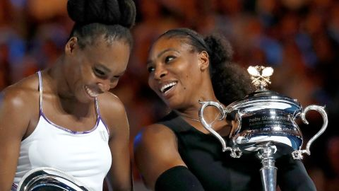 Serena Williams, 35, right, beat her sister Venus, 36, to win the women's singles final at the Australian Open in January.