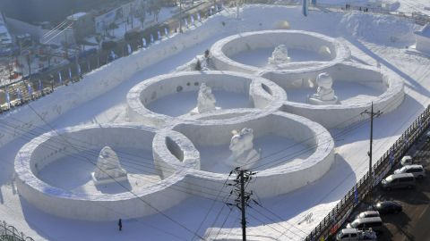 A snow sculpture shaped in the Olympic rings at the town of Hoenggye, which is near the venue for the opening and closing ceremonies.