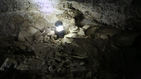 Dead Sea scroll jar fragments found in the cave