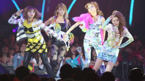 2NE1, at their concert at the MTV Video Music Awards Japan 2012 at Makuhari Messe on June 23, 2012 in Chiba, Japan.