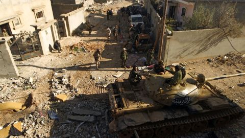 Members of the so-called Libyan National Army seen during fighting on the outskirts of Benghazi, on January 14, 2017.