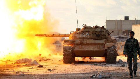 Members of the so-called Libyan National Army fire on jihadists near Benghazi in January.