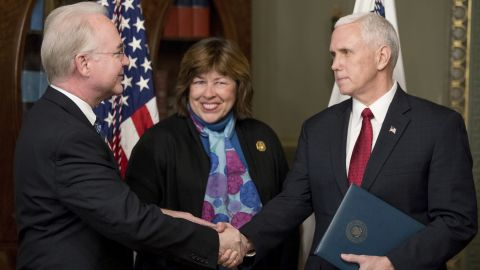 """Pence shakes hands with Health and Human Services Secretary Tom Price -- who was accompanied by his wife, Betty -- after a swearing-in ceremony on Friday, February 10. Price, a former congressman from Georgia, <a href=""""http://www.cnn.com/2017/02/09/politics/tom-price-confirmation-vote/"""" target=""""_blank"""">was confirmed 52-47</a> in a middle-of-the-night vote along party lines."""