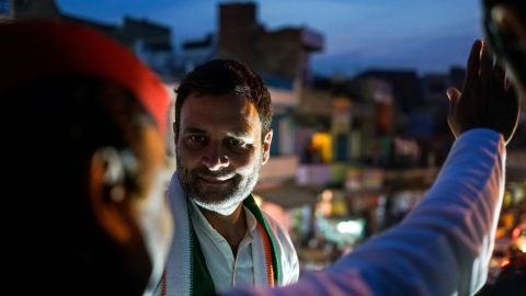 Congress party vice president, Rahul Gandhi, looks at Uttar Pradesh state Chief Minister, Akhilesh Yadav, during a joint election rally in Agra. In January, the two parties revealed they were forging an alliance.