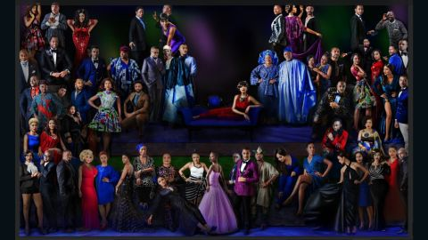 """This grand portrait of all 64 celebrities titled """"The School of Nollywood"""" is inspired by Raphael's 1509 painting 'The School of Athens', which adorns the Vatican's Apostolic Palace. <br /><br />""""It was a daunting undertaking,"""" Udé told CNN, """"but worth every effort and breath that I spent on it."""""""