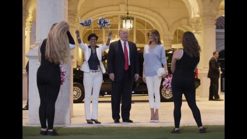 The Trumps arrive at Trump International Golf Club in West Palm Beach, Florida, in February 2017. The Trumps were attending a Super Bowl party at the club.