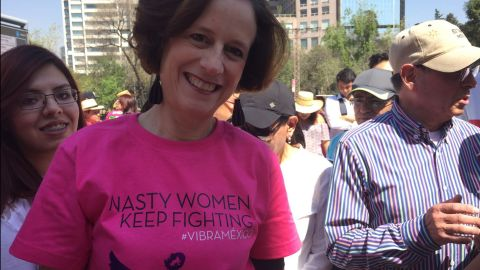 Denise Dresser, a university professor, made 350 of these shirts for the protest in Mexico City on Sunday, Feb. 12.