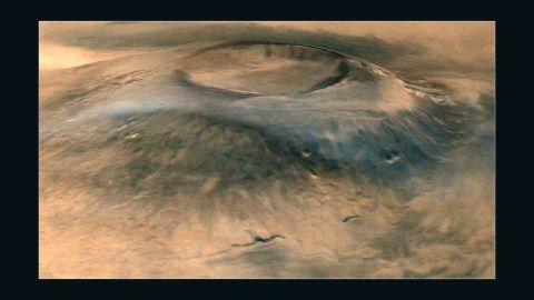 A spectacular 3D view of Arsia Mons, a huge volcano on Mars.