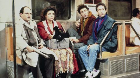 Jason Alexander as George Costanza, Julia Louis-Dreyfus as Elaine Benes, Michael Richards as Cosmo Kramer and Jerry Seinfeld in 'Seinfeld.'