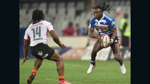 Here pictured playing for Western Province in South Africa's Currie Cup competition in 2015, Senatla is hoping to win a call-up to the Springboks squad.