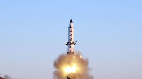 """This photo taken on February 12, 2017 and released on February 13 by North Korea's official Korean Central News Agency (KCNA) shows the launch of a surface-to-surface medium long-range ballistic missile Pukguksong-2 at an undisclosed location. North Korea said on February 13 it had successfully tested a new ballistic missile, triggering a US-led call for an urgent UN Security Council meeting after a launch seen as a challenge to President Donald Trump. / AFP / KCNA via KNS / STR / South Korea OUT / REPUBLIC OF KOREA OUT ---EDITORS NOTE--- RESTRICTED TO EDITORIAL USE - MANDATORY CREDIT """"AFP PHOTO/KCNA VIA KNS"""" - NO MARKETING NO ADVERTISING CAMPAIGNS - DISTRIBUTED AS A SERVICE TO CLIENTS / THIS PICTURE WAS MADE AVAILABLE BY A THIRD PARTY. AFP CAN NOT INDEPENDENTLY VERIFY THE AUTHENTICITY, LOCATION, DATE AND CONTENT OF THIS IMAGE. THIS PHOTO IS DISTRIBUTED EXACTLY AS RECEIVED BY AFP.  /         (Photo credit should read STR/AFP/Getty Images)"""