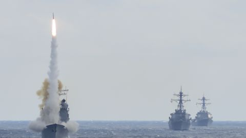 160315-N-DQ503-070ATLANTIC OCEAN (March 15, 2016) -- Guided-missile cruiser USS Monterey (CG 61), left, launches a Standard Missile-2 (SM-2) to destroy an advanced high-speed target while USS Stout (DDG 55) and USS Mason (DDG 87) transit formation during a live-fire test of the ship's Aegis weapons systems. The live-fire event was conducted during the Eisenhower Carrier Strike Group Composite Training Unit Exercise (COMPTUEX), the final certification event prior to deployment. As the world's premier fleet-aria air defense weapon, SM-2 is an integral part of the layered defense that protects the world's naval assets and gives warfighters a greater reach in the battlespace. SM-2 variants are lethal against subsonic, supersonic, low- and high-altitude, high-maneuvering, diving, sea-skimming, anti ship cruise missiles, fighters, bombers, and helicopters in an advanced electronic countermeasures environment. SM-2 has an extensive area and self-defense flight test history with more than 2,650 successful flight tests from domestic and international ships. (U.S. Navy Photo by Chief Damage Controlman Andrae L. Johnson/Released)