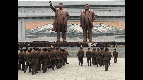 Soldiers pay respects to former North Korean leaders on February 15. The site is considered one of the most sacred in Pyongyang.