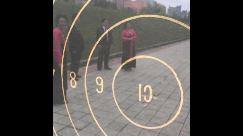 """Tour guides told CNN's crew that """"in 1948, Kim Il Sung, his wife and his then 7-year-old son, Kim Jong Il, test fired North Korea's first domestically manufactured submachine gun,"""" <a href=""""https://www.instagram.com/p/BFItQnuBqFl/"""" target=""""_blank"""" target=""""_blank"""">Tim Schwartz said on Instagram.</a> The guides said that all three shot bullseyes at 50 meters."""