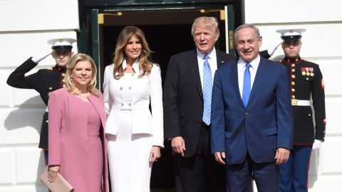 US President Donald Trump and First Lady Melania Trump welcome Israeli Prime Minister Benjamin Netanyahu and his wife, Sara, as they arrive at the White House in Washington, DC, February 15, 2017