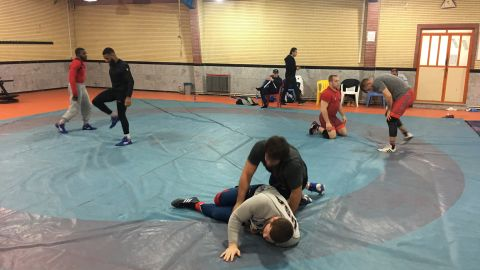 US's Freestyle Wrestling team during a training session ahead of the competition on 16 and 17 February.