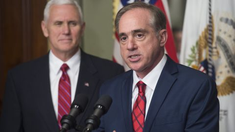 """Pence watches David Shulkin, the new secretary of the Veterans Affairs Department, speak at his swearing-in ceremony on February 14. Shulkin was confirmed by <a href=""""http://www.cnn.com/2017/02/13/politics/steven-mnuchin-senate-confirmation-vote-david-shulkin/"""" target=""""_blank"""">a unanimous vote</a> in the Senate."""