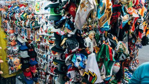 A street vendor sells Lucha Libre paraphernalia outside Arena Mexico on Sunday, February 12.