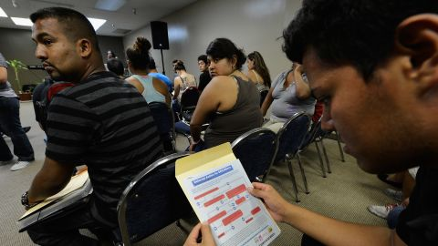 LOS ANGELES, CA - AUGUST 15:  People attend an orientation class in filing up their application for Deferred Action for Childhood Arrivals program at Coalition for Humane Immigrant Rights of Los Angeles on August 15, 2012 in Los Angeles, California. Under a new program established by the Obama administration undocumented youth who qualify for the program, called Deferred Action for Childhood Arrivals, can file applications from the U.S. Citizenship and Immigration Services website to avoid deportation and obtain the right to work.  (Photo by Kevork Djansezian/Getty Images)