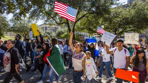 Protesters march Thursday during protests in Austin, Texas.