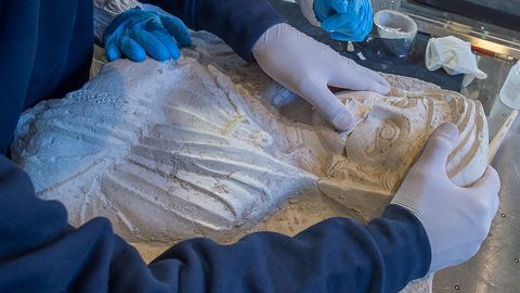 Two 2nd century funerary busts of a man and a woman. Destroyed by ISIS in Palmyra, they were spirited to Italy where restoration experts have painstakingly returned them to partial glory. News came at press conference in Rome yesterday.