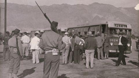 A scene from the Manzanar internment camp in California in 1942.