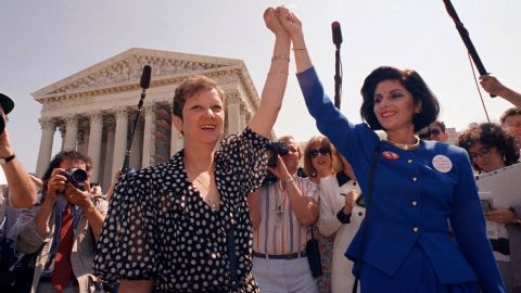 """<a href=""""http://www.cnn.com/2017/02/18/politics/norma-mccorvey-roe-v-wade-figure-dies/index.html"""">Norma McCorvey</a>, the anonymous plaintiff """"Jane Roe"""" in the landmark Supreme Court case Roe v. Wade, died February 18, a priest close to her family said in a statement. Multiple media sources said she was 69. In this photo from 1989, McCorvey is on the left holding hands with attorney Gloria Allred. Roe v. Wade was the 1973 case that established a constitutional right to abortion. McCorvey once supported the pro-choice movement but switched sides in 1995."""