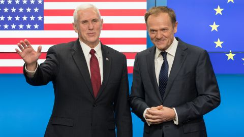 U.S. Vice President Mike Pence and Donald Tusk, president of the European Union, pose for photograph ahead of a meeting at the Europa building in Brussels, Belgium, on Monday, February 20 .
