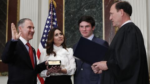 """Supreme Court justice Samuel Alito swears in Scott Pruitt as the new administrator of the Environmental Protection Agency on Friday, February 17. Holding the Bible is Pruitt's wife, Marlyn, and they were joined by their son, Cade. Pruitt, the former attorney general of Oklahoma, <a href=""""http://www.cnn.com/2017/02/17/politics/senate-epa-scott-pruitt/"""" target=""""_blank"""">was confirmed by the Senate 52-46.</a>"""