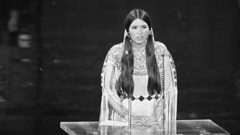 """""""Hello. My name is Sacheen Littlefeather. I'm Apache and I am president of the National Native American Affirmative Image Committee. I'm representing Marlon Brando this evening and he has asked me to tell you in a very long speech, which I cannot share with you presently because of time but I will be glad to share with the press afterwards, that he very regretfully cannot accept this very generous award. And the reasons for this being are the treatment of American Indians today by the film industry ... and on television in movie reruns, and also with recent happenings at Wounded Knee...."""" -- Sacheen Littlefeather (aka Marie Cruz), declining the best actor award at the 45th Academy Awards on behalf of Marlon Brando on March 27, 1973 at Dorothy Chandler Pavilion"""