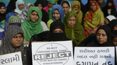 """Indian Muslim women participate in a rally to oppose the Uniform Civil Code (UCC) that would outlaw the practice of """"triple talaq"""" in Ahmedabad on November 4, 2016. I"""