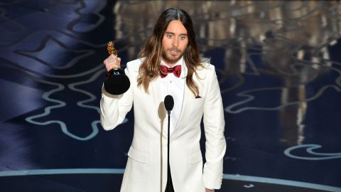 """""""...This is for the 36 million people who have lost the battle to AIDS. And to those of you out there who have ever felt injustice because of who you are or who you love, tonight I stand here in front of the world with you and for you."""" -- Jared Leto, accepting the best actor in a supporting role award for his role in """"Dallas Buyers Club"""" at the 86th Academy Awards on March 2, 2014 at the Dolby Theater"""