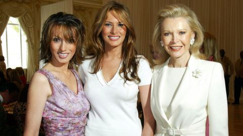 Ines Knauss, Melania Trump, and Audrey Gruss attend the Valentino Fashion Luncheon benefitting Boy's Club of New York at Mar-a-Lago February 4, 2005 in Palm Beach Florida.  (Photo by Lucien Capehart Photography, Inc/Getty Images)