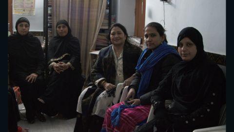 Farha, far right, says her husband divorced her last year by saying Talaq three times.