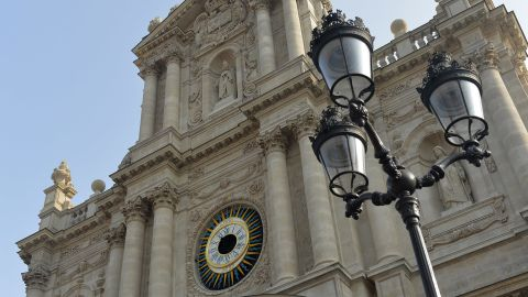 A photo taken on July 12, 2013 shows the Saint-Paul-Saint-Louis church in the Rue Saint-Antoine in the Marais district in Paris. AFP PHOTO / MIGUEL MEDINA        (Photo credit should read MIGUEL MEDINA/AFP/Getty Images)