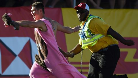 Security was busy that day, as this fan also invaded the pitch before Fiji beat New Zealand. It was the All Blacks' fourth successive defeat in Vegas finals.