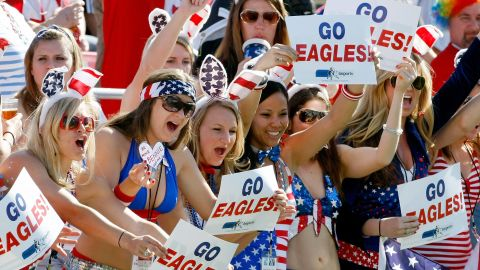 LAS VEGAS - FEBRUARY 14:  Female fans of the United States cheer as the team takes the pitch for a game against Guyana during the IRB Sevens World Series at Sam Boyd Stadium February 14, 2010 in Las Vegas, Nevada. The United States won the quarterfinal match 33-12.  (Photo by Ethan Miller/Getty Images)