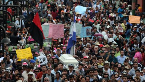 Thousands attend the funeral of Cáceres in her hometown of La Esperanza, Honduras, on March 5, 2016.