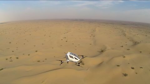The Ehang 184 shown on a test flight near an airfield outside of Dubai city. The drone has a 30 minute battery time, and air routes are planned from the ground via encrypted 4G.