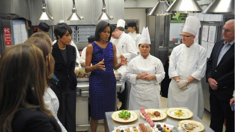 Michelle Obama in the White House kitchen does a preview of the 2009 Governors Dinner menu