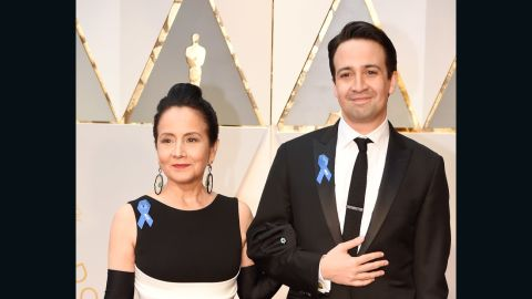 Actor Lin-Manuel Miranda (R) and Luz Towns-Miranda attend the 89th Annual Academy Awards at Hollywood & Highland Center on February 26, 2017 in Hollywood, California.