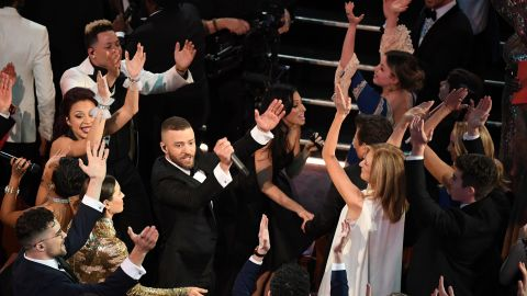 """Justin Timberlake opened the show by singing his hit """"Can't Stop The Feeling."""" It was one of the nominees for best original song."""