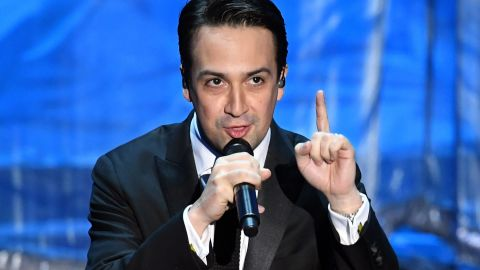 """Lin-Manuel Miranda performs before 16-year-old Auli'i Cravalho took the stage for """"How Far I'll Go."""" Miranda wrote the song for the animated film """"Moana."""""""