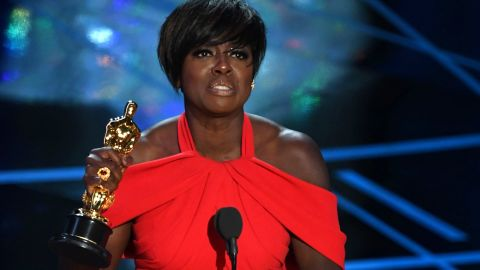 """Viola Davis accepts the best supporting actress Oscar. Davis won for her role in """"Fences,"""" a Denzel Washington movie based on August Wilson's play."""