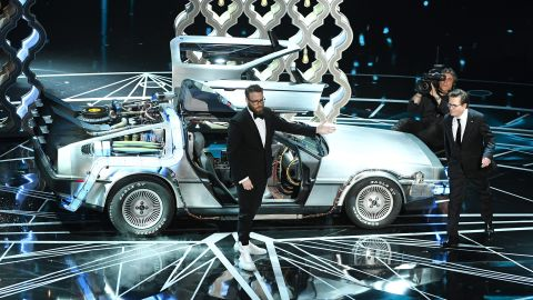 """Seth Rogen, left, and Michael J. Fox were on stage together to present an award. Before that, Rogen paid homage to Fox and the '80s film """"Back to the Future,"""" which Rogen said inspired him."""