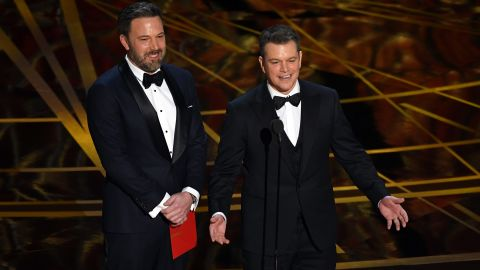 """Ben Affleck, left, and Matt Damon present the Oscar for best original screenplay. That award went to Kenneth Lonergan for """"Manchester by the Sea."""""""