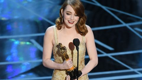 """Emma Stone accepts the best actress Oscar for her role in """"La La Land."""""""