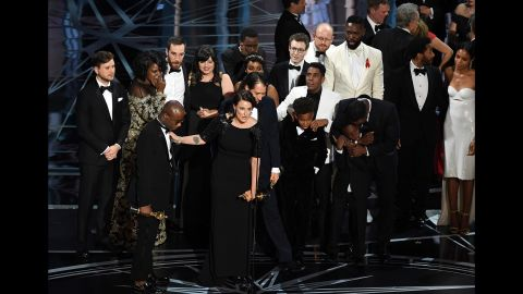 """The cast and crew of """"Moonlight"""" accept the best picture Oscar during <a href=""""http://www.cnn.com/2017/02/26/entertainment/oscars-2017/index.html"""" target=""""_blank"""">the Academy Awards</a> on Sunday, February 26. The winner was initially announced as """"La La Land"""" by presenter Faye Dunaway, but moments later it was revealed that there was a mistake and """"Moonlight"""" had actually won."""